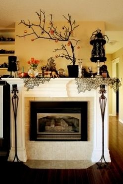 Beautifully Decorated Halloween Mantel Displays