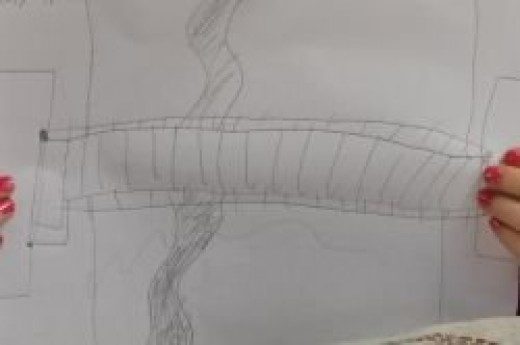 Student's drawing of a bridge
