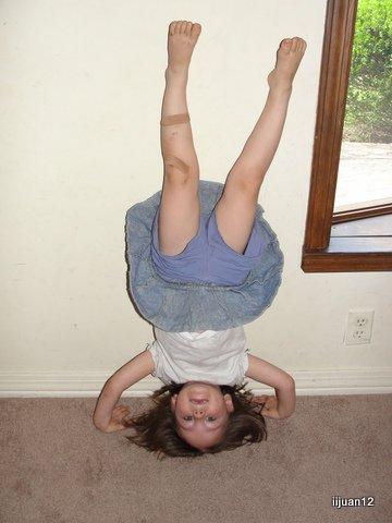 Practicing gymnastics moves