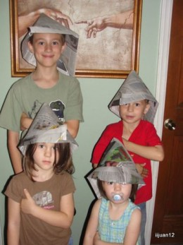 Our attempt at Napoleon hats
