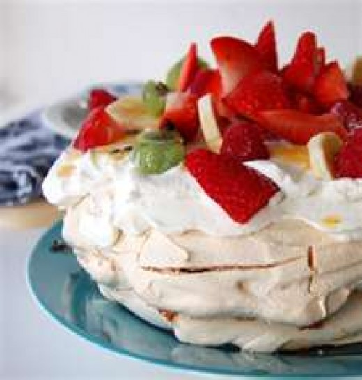 Pavlova (Meringue topped with whipped cream and fruit)