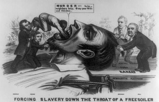 Political cartoon: Forcing Slavery Down the Throat of a Freesoiler