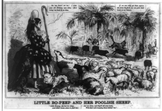 Political cartoon showing Buchanan, as Little Bo Peep's dog, being unsuccessful at herding her sheep back