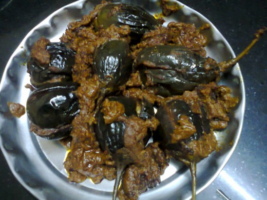 stuffed brinjal ready for serve