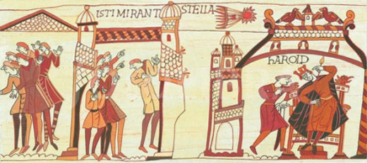 What later became known to us as Halley's Comet is shown on the Bayeux Tapestry commissioned by William's half-brother Bishop Odo. It was seen in April of that year and taken as an omen of things to come when word of Harold's oath-breaking spread