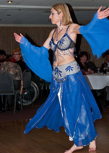 A blond, western, belly dancer