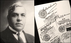 Mendes - seen here alongside a copy of his official stamp - used to save those that came to his consulate door.