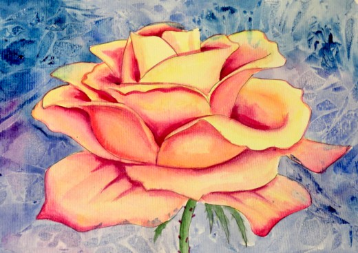 Paint the background first or last, either way the background must be dry before painting the rose.