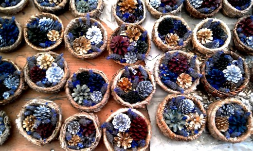 Baskets I learned to weave and pinecones I painted for our wedding: Such a sense of achievement and a refreshing distraction to work on these things when I came home each day.