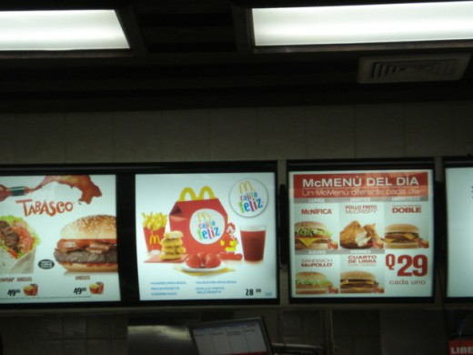 This McDonald's menu is in Spanish with the prices being shown in Q's or Quetzales, the currency of Guatemala. Mc-yD's was surprisingly GOOD in Guate! Healthier than in the USA!