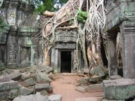 Angkor Wat Temple Doorway, Cambodia