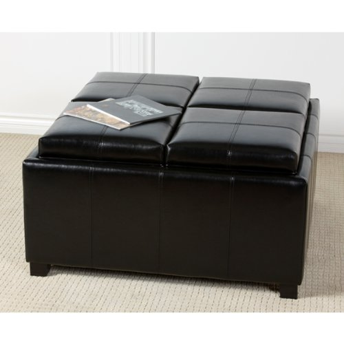 Great Black Square Coffee Table with Four Serving Trays for Entertaining