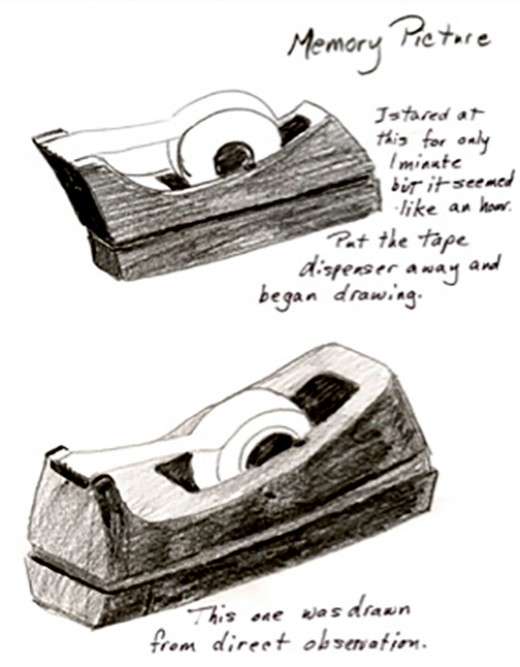 First tape dispenser was drawn from memory and the second one drawn from sight.
