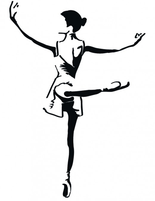 Pen and ink Ballet dancer.