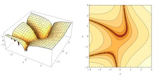 3-D plot and contour plot of z = Ln |x^2 + xy^2 - y|