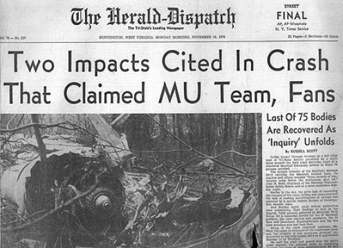 Official newspaper article on the plane crash of the University Football team of 1970.