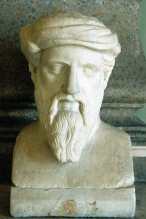 Bust of Pythagoras, Ancient Greek Philosopher and Mathematician