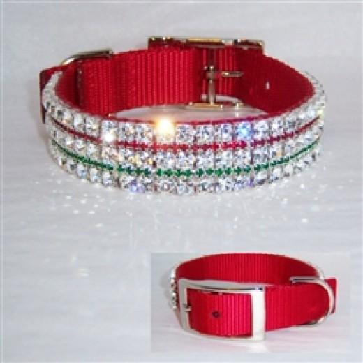 Holly Jolly Bling Dog Collar