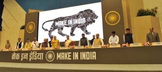 "Prime Minister Narendra Modi releasing the logo at the inauguration of the ""MAKE IN INDIA"" initiative, in New Delhi on 25 September 2014. a black colored Lion showing machines with in is the official logo of the mission."