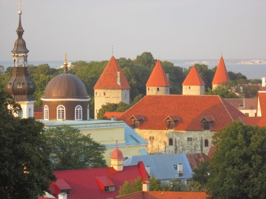 The red turrets of medieval Tallinn,Estonia.I like the shot i took on this.