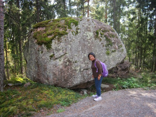 Onother rock boulder from the ice age .I look like Hercules carrying the weight of the world.LOL!