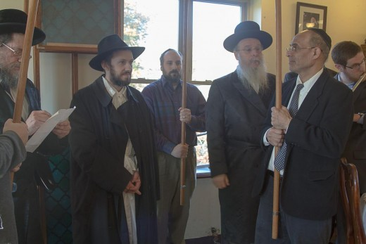 "The Bostoner Rebbe shlit""a (second from right) with the author (far left) at his wedding."