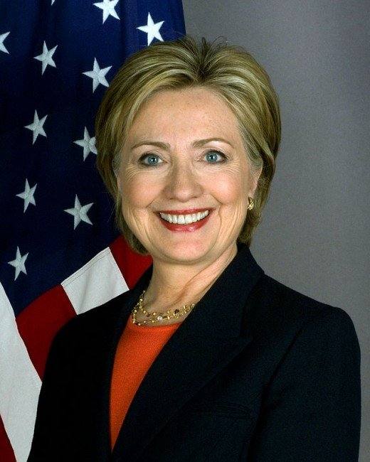 This is the official photo of Hillary Clinton when she was Secretary of State.  (Office government photos are in the Public Domain.)
