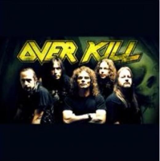 """Overkill L-R; D.D. Verni, Derek Tailer, Bobby """"Blitz"""" Ellsworth, Ron Lipnicki, Dave Linsk"""