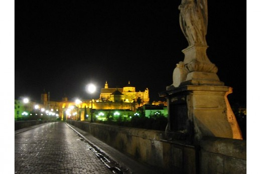 The Puente Romano at night.
