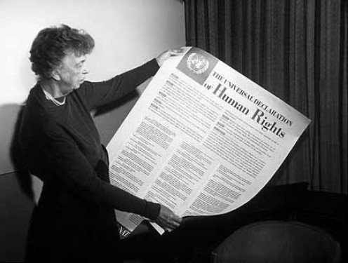 First Lady Eleanor Roosevelt with the English version of the United Nations Universal Declaration of Human Rights.