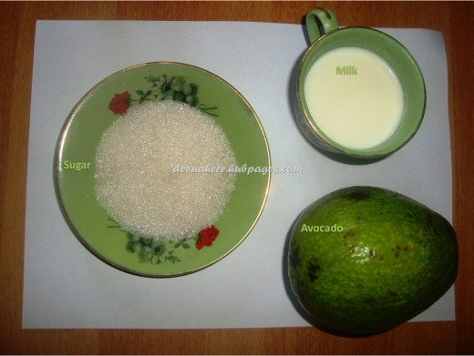 Avocado milk shake ingredients