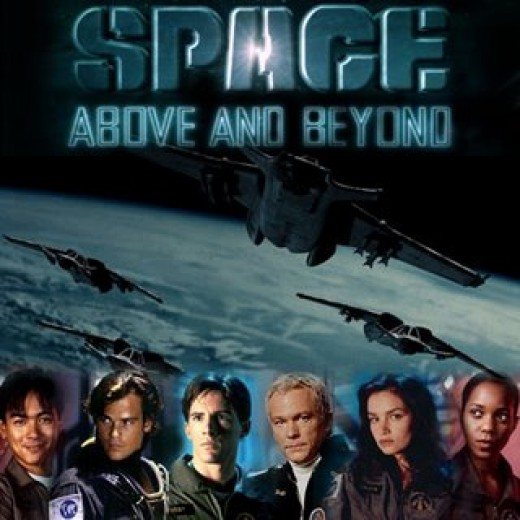 The cast of Space Above and Beyond (from left to right) Joel de la Fuente, Rodney Rowland, Morgan Weisser, James Morrison, Kristen Cloke, and Lanei Chapman