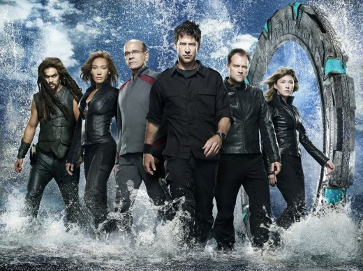 Final Season cast (from left to right) Jason Momoa, Rachell Luttrell, Robert Picardo, Joe Flanigan, David Hewlett, and Jewel Staite