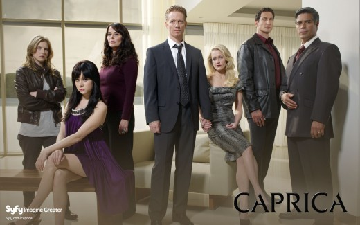 The cast of Caprica (from left to right): Magda Apanowicz, Alessandra Torresani, Polly Walker, Eric Stoltz, Paula Malcomson, Sasha Roiz, Esai Morales
