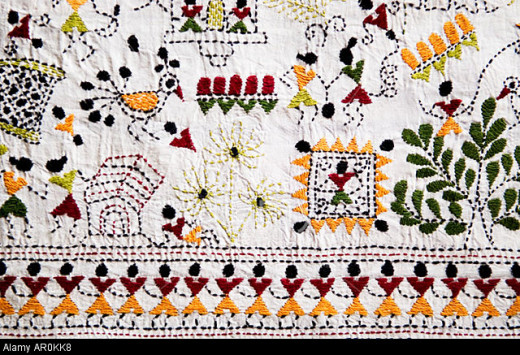 Hand made embroidered Bengali nakshi kanta shawl from Bengal India