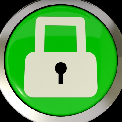 Button showing padlock - Protect yourself!