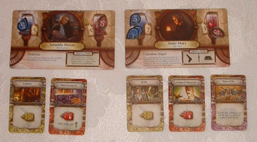 Two strong characters; Amanda can complete multiple tasks per dice roll, while Mary can use locked dice and ignore Mythos conditions.