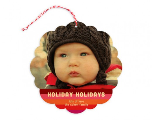 Order from Night Owl Paper goods and add your own cute face to the ornament card.