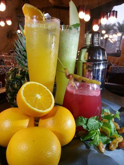 The freshly made Brazilian mocktails at Espeto Gaucho: Orange and Pineapple shake, Minty Melon and Raisin and Rose Tea.