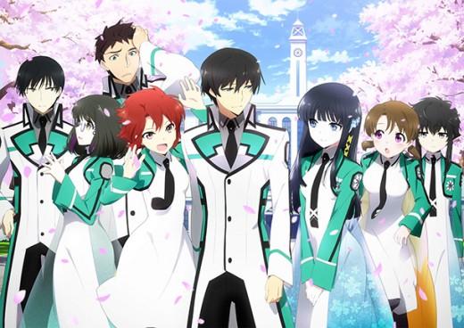 The main cast of Mahouka Koukou no Rettousei. From left to right: Mikihiko Yoshida, Mizuki Shibata, Leonhard Saijo, Tatsuya Shiba, Miyuki Shiba, Honoka Mitsui, and Shizuku Kitayama.