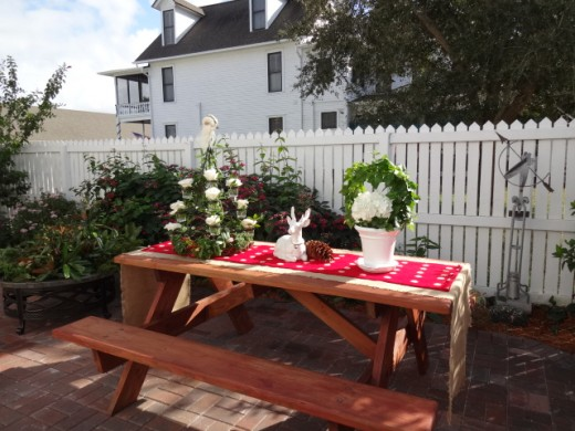 A Picnic Table Decorated for the Holidays in Historic St. Augustine Florida