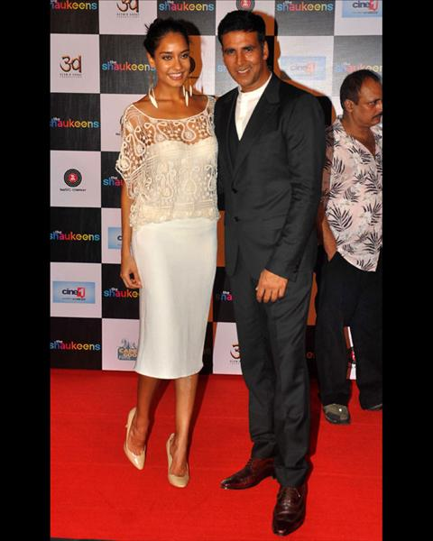 Bollywood stars Akshay Kumar and Lisa Haydon were clicked at the trailer launch of their upcoming film 'The Shaukeens'. The film also stars Anupam Kher, Annu Kapoor and Piyush Mishra in the lead roles.