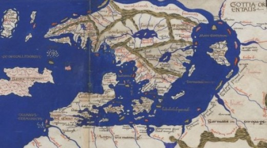 Mediaeval map of Scandinavia and the Eastern Sea shows Roskilde lower centre - see modern map of Denmark and southern Scandinavia below right