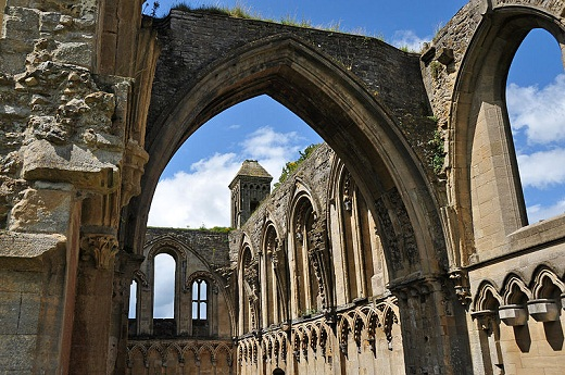 The ruins of Glastonbury Abbey in Somerset, UK, one of the most famous of the monastery churches destroyed in the Dissolution of the Monasteries.