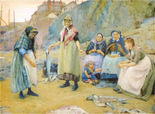 """Sharing fish"" -- Painting by Thomas Cooper Gotch.  Public domain."