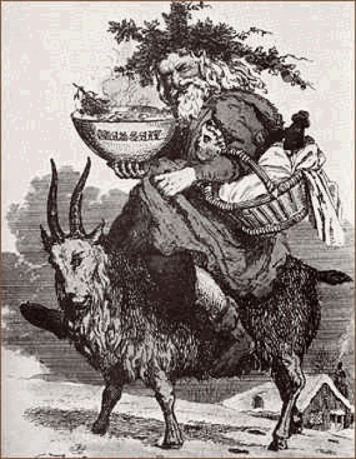 Father Christmas riding a goat