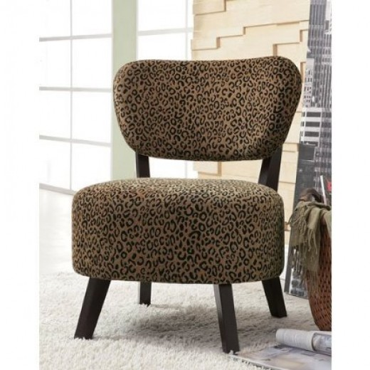 Upholstered Brown Leopard Print Armless Slipper Chair