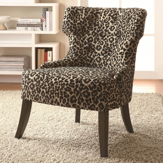 Armless Slipper Chair in Leopard Print Upholstered