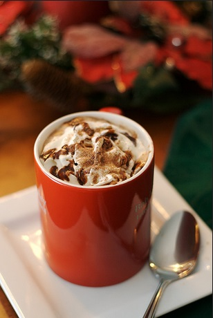 Decorative cup of hot cocoa ready to serve