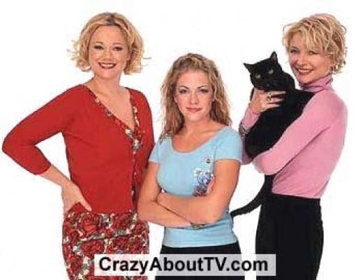 Sabrina with aunts Hilda and Zelda and her cat, Salem